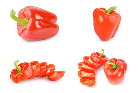 Collage of red sweet peppers on a white background cutout Reklamní fotografie - 160154333