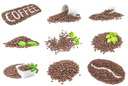 Collage of pile of roasted coffee beans over a white background
