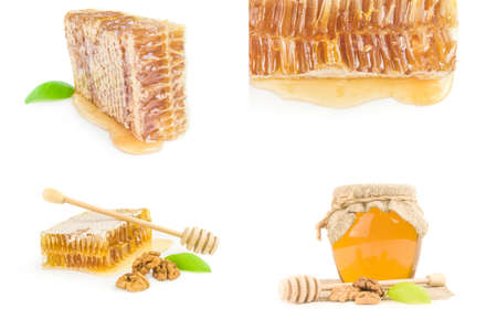 Collage of honey close-up isolated on white background