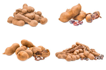 Collage of Tamarind isolated over a white background
