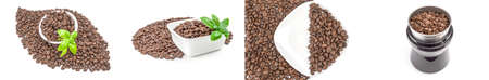 Collage of coffee grains on a white background Reklamní fotografie - 163415063