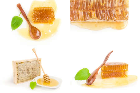 Collage of honey isolated on a white background