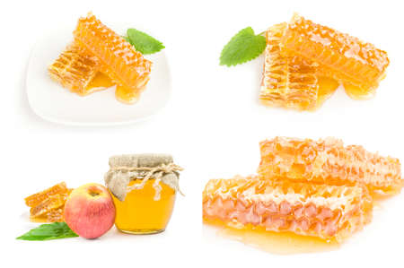 Collage of honey isolated over a white background