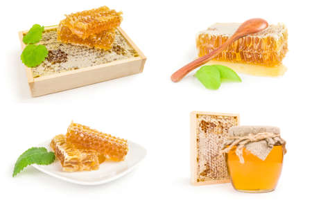 Collage of honey on a isolated white background