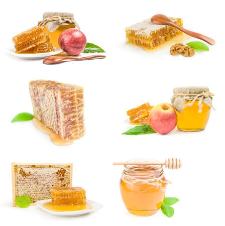 Collage of Sweet honey isolated on a white background cutout Imagens
