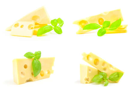 Collection of cheese with green leaf on a background