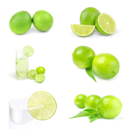 Collage of limes isolated on a white background Reklamní fotografie - 159585352