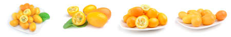 Collage of cumquats isolated on a white background with clipping path Reklamní fotografie - 159586002
