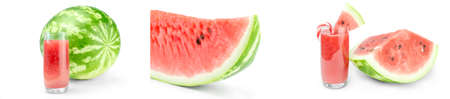 Set of Green watermelon over a white background