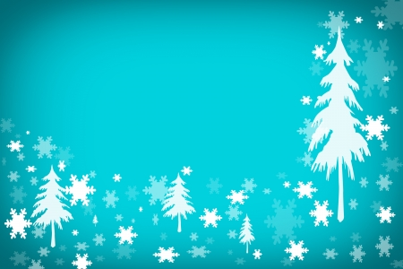 Snow and  pine tree landscape background photo