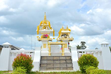 house of god: white thai spirit house,shrine of the household god Stock Photo