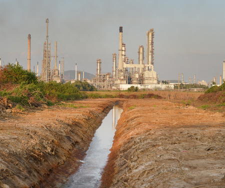 industry background: oil refinery in the industry estate area Stock Photo