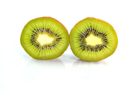 a portion: a kiwi portion isolated on white background Stock Photo