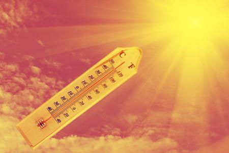 thermometer: termómetro en la placa de madera fondo de la sol