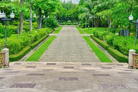 walkway: block concrete  walkway in park