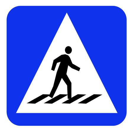 paso peatonal: paso de peatones del tr�fico tablero azul signo Foto de archivo
