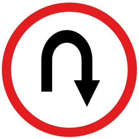 u turn: arrow u turn sign board traffic