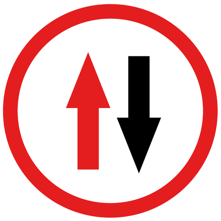 opposite: red and black arrow opposite sign board traffic