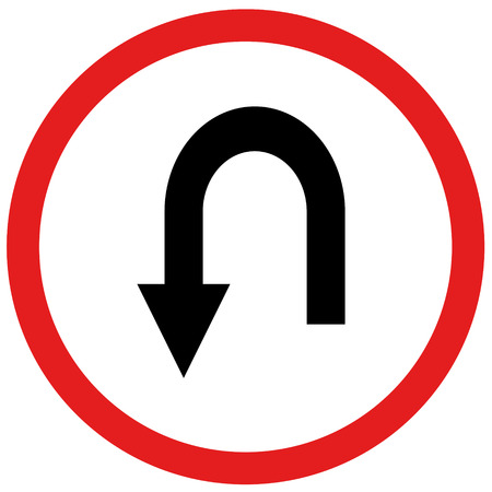u turn sign: arrow u turn sign board traffic