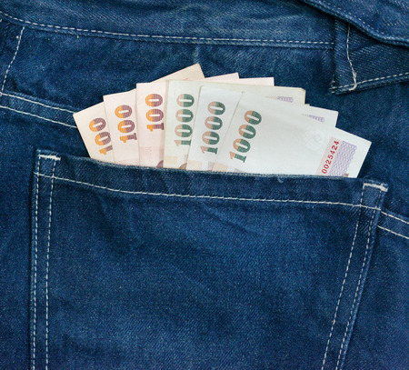 bank note: money bank note  in jeans pocket Stock Photo