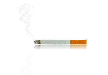 noxious: cigarette burn with shadow and smoke isolated on white background