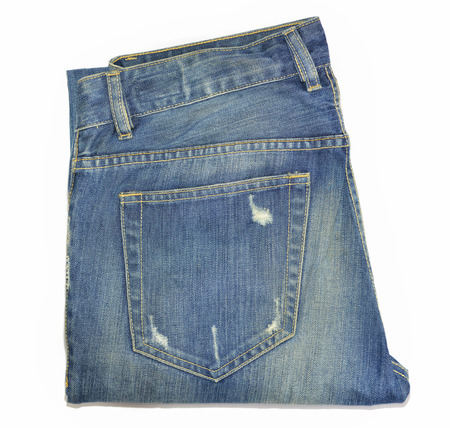 rend: blue jeans back pocket tear stack isolate on white background
