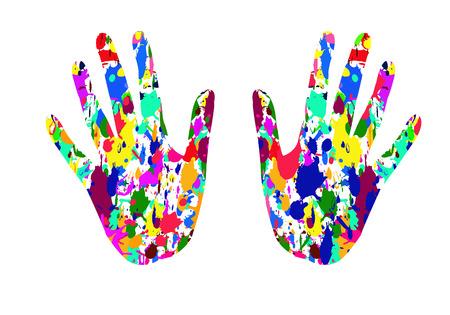 fling: fling colorful on hand  background