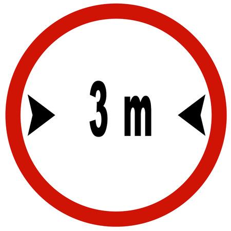 width: way width 3 m sign board traffic