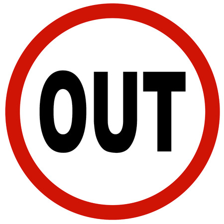 way out: OUT sign board traffic Stock Photo