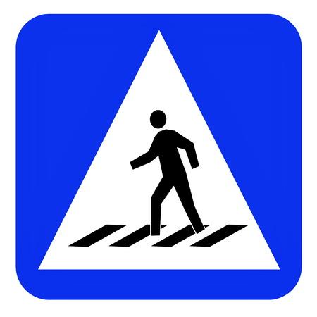 crosswalk: crosswalk blue sign board traffic Stock Photo
