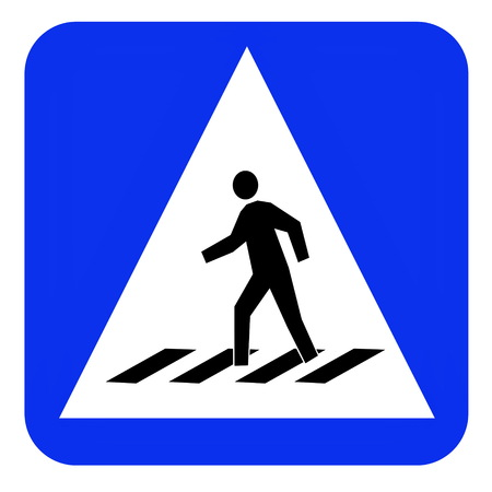 crosswalk: paso de peatones del tr�fico tablero azul signo Foto de archivo