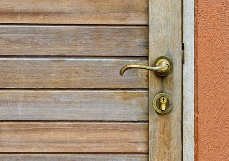 vintage brass doorknob on wood door