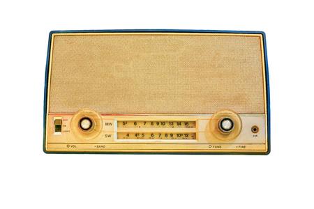 transistor: old transistor radio isolate on white background