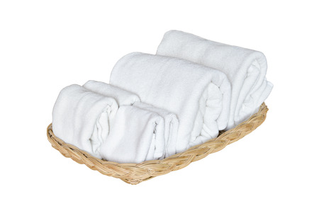 white towels: Towels on basket isolate on white background Stock Photo