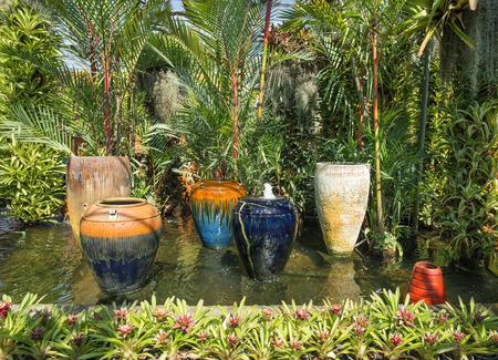 garden fountain: garden fountain and pond