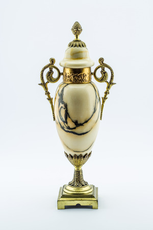 antique vase: Antique marble vase with bronze handles