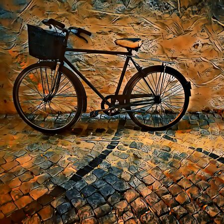 warm coloured artistic treatment of lone bicycle Imagens