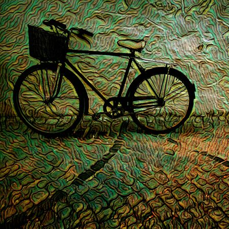 old fashioned bicycle given creative artistic treatment