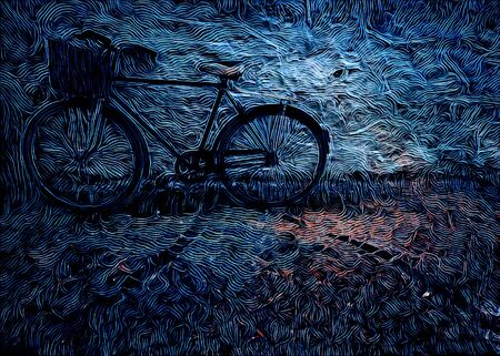 blue outlined artistic treatment lone bicycle Imagens