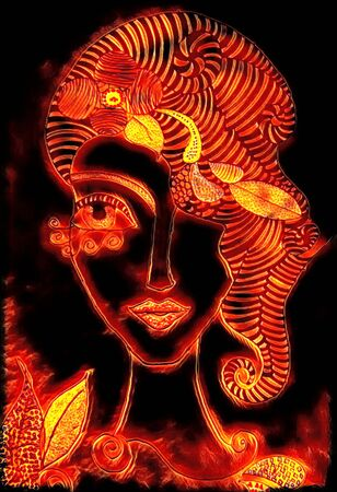 doodle outline of young lady with long neck glowing edges, fire and lava style effect