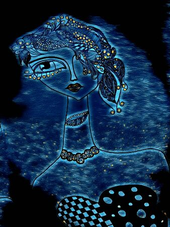 doodle of ultra-modern young lady with long neck style van gogh starry night 写真素材