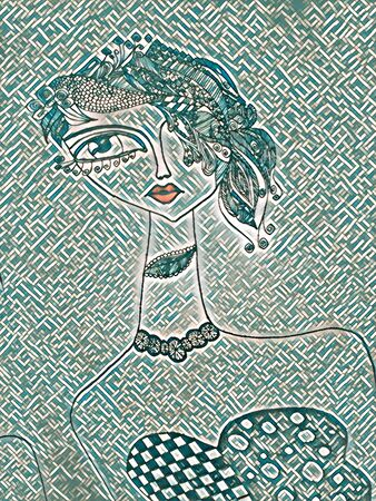 doodle of ultra-modern young lady with long neck green tiles 写真素材