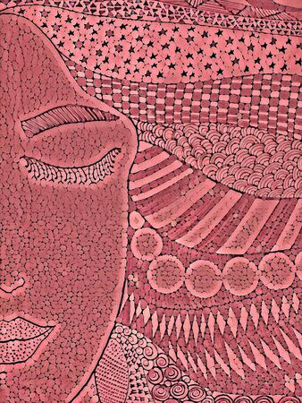 young lady with long neck and big hairdo in pink mosaic