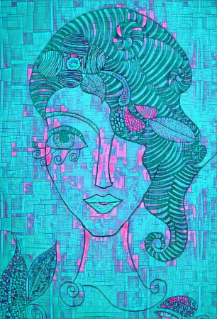 thoroughly modern cubist theme young lady with big hairdo