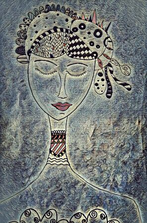 doodle of a lady with close eyes and extravagant hairdo and a long necks as painted mosaic