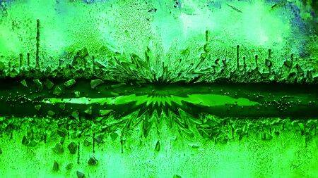 Abstract creative images imagining futuristic space life and living landscape in shades of emerald green Banco de Imagens