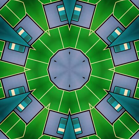 Octagonal symmetric GREY AND BRÄ°GHT GREEN geometric patterns and design Stock Photo