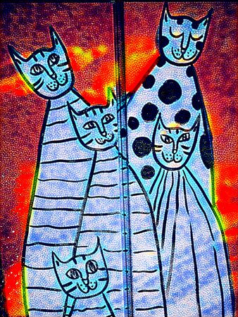 doodle of cat family  transformed into unique art by application of digital processes