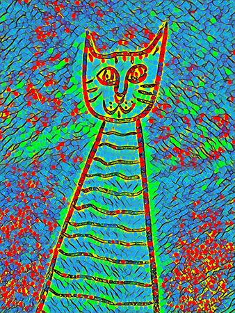 doodle of happy multicolored cat shape transformed into unique art by application of digital processes