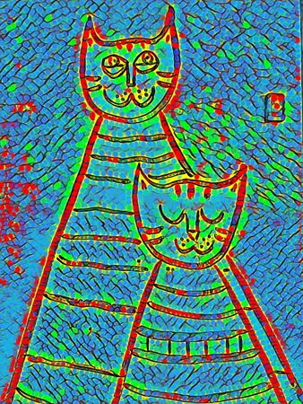 doodle of twin cat shapes transformed into unique art by application of digital processes